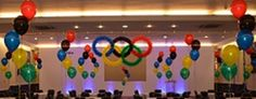 Olympic rings made of balloons