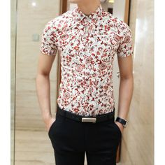 Fashion Tiny Floral Print Shirt Collar Short Sleeve Slimming Cotton Shirt For Men, RED, M in Shirts | DressLily.com      {This one I picked for a reason}
