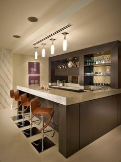 Decorating your ideal home bar design. Consider yourself lucky if you've got your own home bar - it's a perfect […] Modern Home Bar Designs, Best Modern House Design, Modern Design, Bar Countertops, Bar Counter Design, Counter Top, Bar Interior Design, Interior Designing, Mini Bars