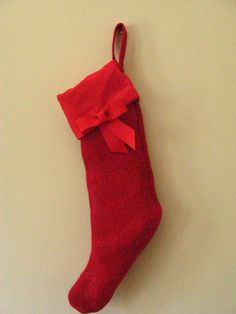 Red burlap christmas stocking modern primitive preppy by betsstuff, $20.00