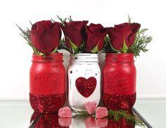 Glitter Mason Jars - Valentines Day Decor - Decorated Mason Jars - Room Decorations - Colored Mason Jars - Red Mason Jars - Distressed Jars by curiouscarrie on Etsy https://www.etsy.com/listing/263231117/glitter-mason-jars-valentines-day-decor