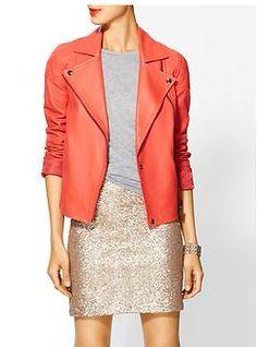 Coral biker coat, gray shirt, gold sequin skirt
