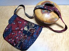 Burgundy and Navy Blue Recycled Silk Tie Purse by LulusCreations1
