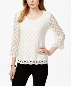 Style & Co. Embroidered Polka-Dot Lace Top, Only at Macy's - Tops - Women - Macy's