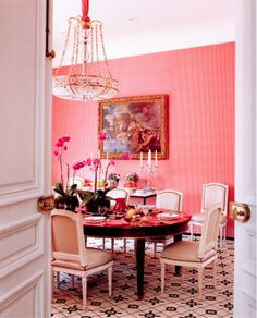 """Dining room designed by Madeleine Castaing featured in Emily Evans book """" The World of Madeleine Castaing"""" . She was a legendary decorator in France who """"created her own look that was a unique blend of Neoclassicism, Proustian Romanticism and pure wit' (quote from book)"""