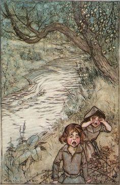 Wandering about Boo-Hoo-ing. Arthur Rackham, The Ingoldsby Legends