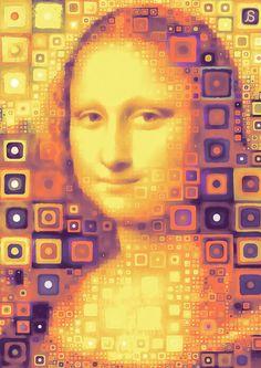 •Mona Lisa Reproduction of famous painting ofLeonardo da Vincimade in patchwork mosaic style  by Arseny Samolevsky