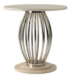 Chrome & Marble Side Table at Decorus