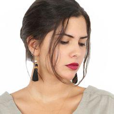Breakfast at Tiffany's black tassel earrings