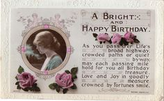 Rotary Rhyme Postcard Young Girl Roses A Bright & Happy Birthday Embossed…
