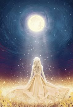 This is a representation of Selene, goddess of the Moon. According to the myth, Selene was a woman of great beauty with golden hair. Selene became as mu. Selene, goddess of the Moon Goddess Art, Moon Goddess, Beautiful Fantasy Art, Beautiful Moon, Digital Art Girl, Anime Scenery, Fantasy Photography, Anime Art Girl, Manga Girl