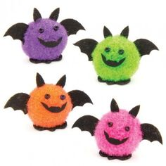 Mini Pom Pom Bats Halloween decorations don't have to be scary... they can be soft and fluffy too! Add these little bats to your crafts and cards for a 'fang-tastic' finish. 4 assorted colours. 20mm. Decorative use only.