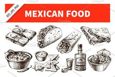 Hand Drawn Sketch Mexico Food. Best food illustrations for businesses like food menu, blogging, graphic design, poster. More #food #illustrations for your #brand you can download here ➝ https://creativemarket.com/graphics/illustrations?u=BarcelonaDesignShop #food #creative #download #menu #restaurant #design #graphic #drawing #cafe #vintage #print #illustration #logo #cute #vector #art #nachos #poster #doodle #drawing #label #burrito #watercolor #mexican #fastfood
