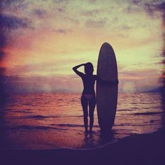 Sunset beach photo - 4x4 sunset beach photo print featuring a surf girl with surfboard at a pink and purple sunset.
