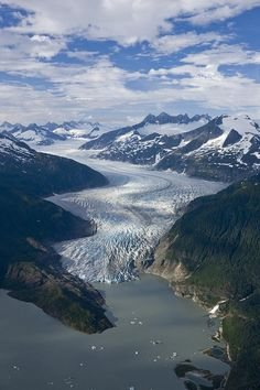Daytime Photograph - Aerial View Of Mendenhall Glacier by John Hyde.