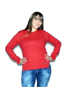 Sweater Rojo Trenzado (Scombro) $649.00 Turtle Neck, Pullover, Sweaters, Fashion, Templates, Red Sweaters, Wraps, Colors, Moda