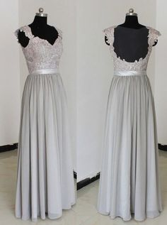 Buy Elegant Sweetheart Floor Length Chiffon Grey Bridesmaid/Prom Dresses With Appliques Bridesmaid Dresses under US$ 82.99 only in SimpleDress.