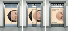 Props for a clever and unexpected elevator door ad.