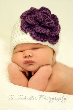 Leia Flower Baby Girl Hat by BeautifulMessCrochet on Etsy, $18.00