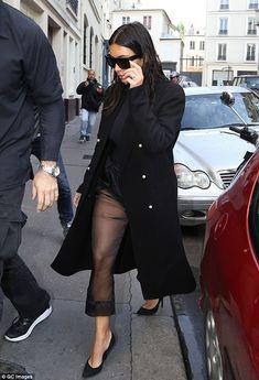 Tres chic: Kim Kardashian worked an all-black ensemble when she stepped out in Paris, Fran...
