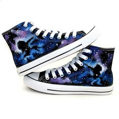 Black Galaxy Converse shoes Custom Converse Galaxy Converse Sneakers... ❤ liked on Polyvore
