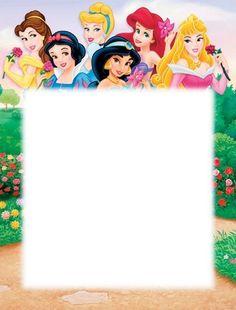 Tarjetas de las Princesas de Disney para personalizar5 Happy Birthday Disney Princess, Disney Princess Invitations, Disney Princess Cupcakes, Princess Theme, Walt Disney Princesses, Disney Frames, Doodle Frames, Autograph Book Disney, Birthday Frames