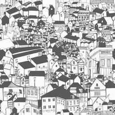 Eco Wallpaper Lissabon Village Motif Wallpaper White - WV6091