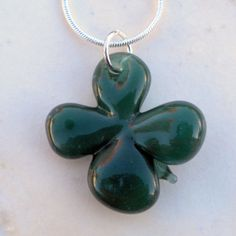 Four Leaf Clover Glass Boro Necklace Lucky Charm by UntamedRose, $25.00