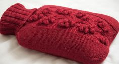 pretty winterberry hot water bottle cover~ how lovely and a free pattern!