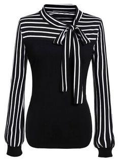 Shop Tie-neck Striped Blouse online. SheIn offers Tie-neck Striped Blouse & more to fit your fashionable needs.