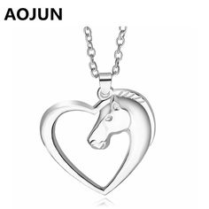 AOJUN Hollow Love Heart Horse Head Necklaces & Pendants for Women Alloy Long Chain Charm Necklace Fashion Jewelry Gift XL961
