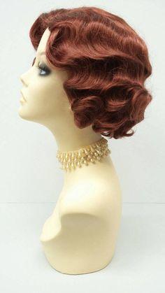 1920's Style Short Bright Auburn Finger Wave Wig. by ParamountWigs #FingerWaveWedding