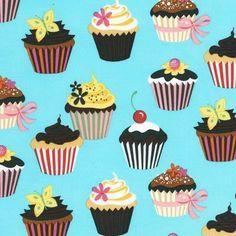 Turquoise Cupcake Sweet Tooth by Robert Kaufman Fabric 1 Yard Fabric. $10.50, via Etsy.