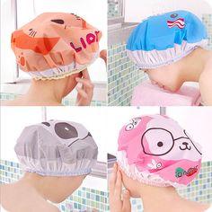 Nette karikatur duschbad kappe frauen hut für bäder und saunen spitze elastische band cap spa kappe frauen kinder haar schutzkappe