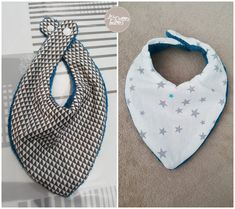 Bib-bandana or the art of drooling with elegance {Sewing Tutorial} - Les Petites Loutres Coin Couture, Baby Couture, Couture Sewing, Couture Clothes, Clothing Tags, Beautiful Gifts, Baby Sewing, Embroidery Designs, Solution