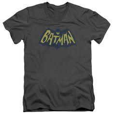 BATMAN/SHOW BAT LOGO - S/S ADULT V-NECK - CHARCOAL -