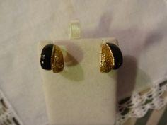 Vintage Glittery Gold and Black Pierced Half Hoop Earrings | SelectionsBySusan - Jewelry on ArtFire