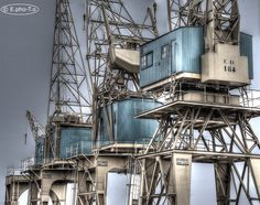 Old (restored) harbour cranes at the Antwerp port