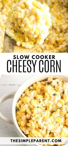 Slow Cooker Corn Side Dish. Corn plus cheese equals delicious! With just a few ingredients and easy to make in the crockpot, you have to try this veggie side dish recipe. Great for a crowd, or for family dinner or even a holiday dinner or Christmas side dish. So easy, so delicious! Crockpot Side Dishes, Crock Pot Cooking, Side Dishes Easy, Side Dish Recipes, Veggie Recipes, Crockpot Recipes, Cooker Recipes, Easy Recipes, Crockpot Veggies