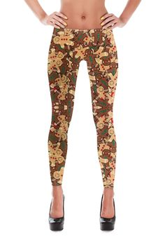 Gingerbread Man Leggings - Christmas Leggings - Womens Leggings - Yoga Leggings - Winter Leggings - Christmas Gift - Gifts - Candy Canes