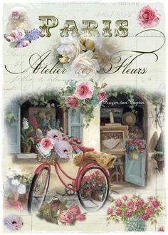 Decoupage Vintage, Vintage Diy, Vintage Paris, Vintage Crafts, French Flowers, Vintage Flowers, Vintage Pictures, Vintage Images, Etiquette Vintage