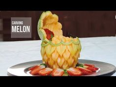 Carving Fruit, How to Decorate a Cantaloupe - By J. Pereira Art Carving Fruits and Vegetables - YouTube