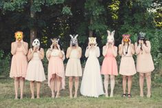 Bridal party with fun props