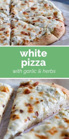 White Pizza Recipe - - Think cheese pizza is boring? Try changing it up with the more sophisticated White Pizza recipe. An herb and garlic infused olive oil is spread on a pizza crust that is topped with three cheeses for a delicious, cheesy pizza. White Pizza Recipes, Italian Recipes, Grilled Pizza Recipes, White Cheese Pizza Recipe, White Pizza Sauce, Flatbread Pizza Recipes, Chicken Pizza Recipes, Healthy Pizza Recipes, Recipe Chicken