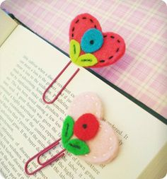 clips com marcador de feltro #sew #felt #patterns #bookmarks