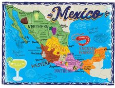 John Coulter - Map of Mexico * Central America, North America, Latin America, Peru, The Paper Kites, Chile, Taos New Mexico, The Beautiful Country, Mexican Art