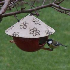 Keramik Vogel Futterhäuschen, Steinzeug, von isi-way.com