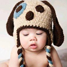 Ravelry: Puppy Dog Hat Pattern pattern by Sweet Kiwi Crochet Kandice Oster Crochet For Boys, Crochet Baby Hats, Baby Knitting, Free Crochet, Knitted Hats, Knit Crochet, Easy Crochet, Puppy Hats, Dog Pattern