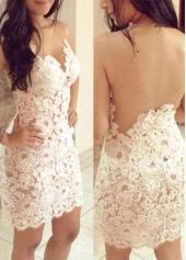 Stunning Hollow Back Crochet Pattern Tight Dress for Party