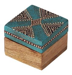"""Bulk Wholesale Handmade 2.5"""" Square Mango-Wood Jewelry Box / Trinket Box in Teal-Blue & Natural Wood Color Decorated with Cone-Painting Art of Traditional-Look Motifs – Antique-Look Boxes from India"""